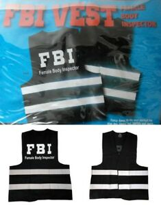 Mens FBI /'Female Body Inspector/' Hi Vis Vest Stag Party Fancy Dress to fit L-XXL