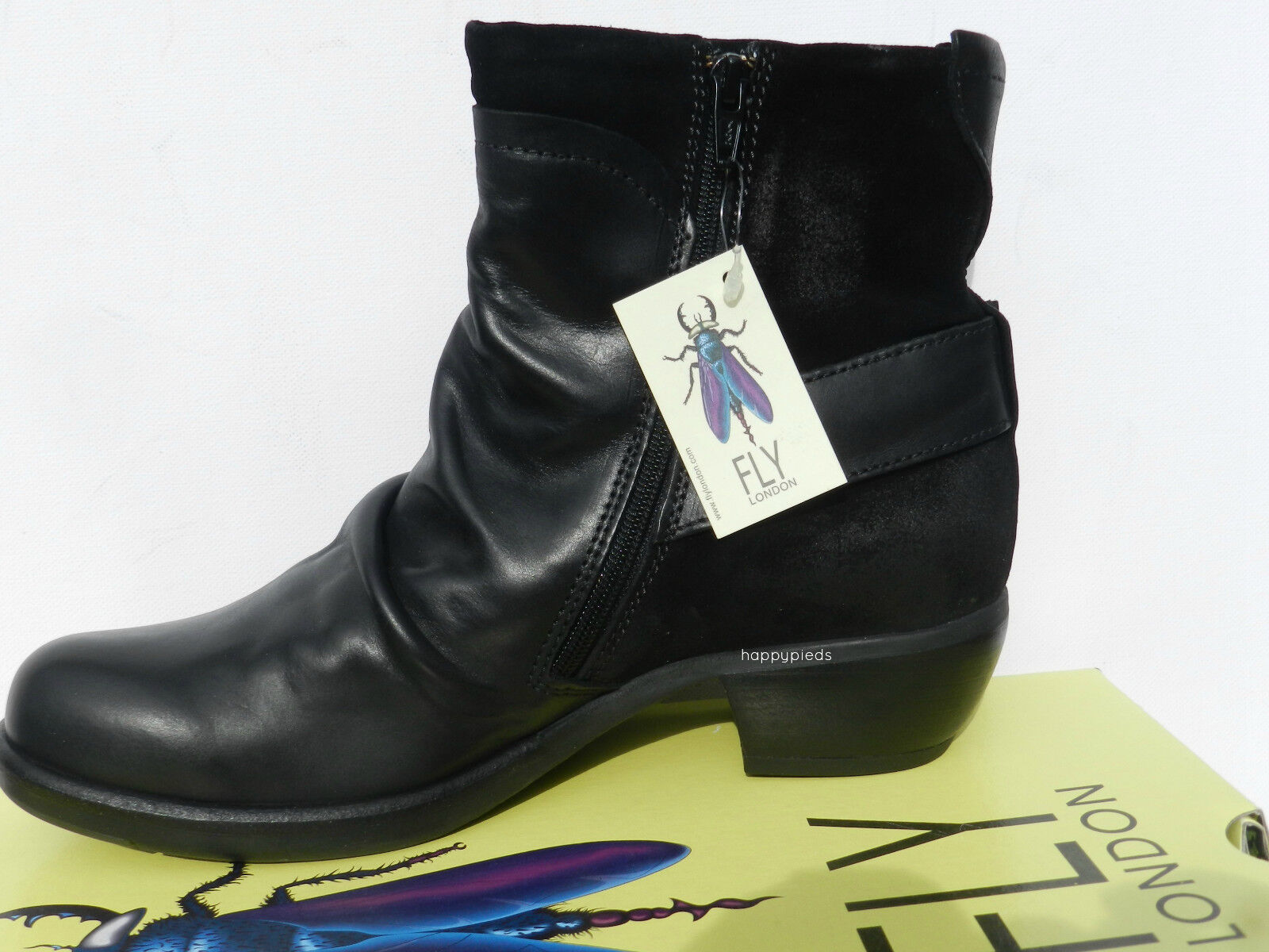 Fly London Mel shoes Femme 40 Bottes Bottines Montantes Motard black UK7 New