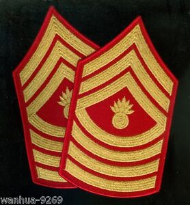 Master-Gunnery-Sergeant-Patches-Gold-Scarlet-for-the-Men-039-s-dress-blues-1997-mint