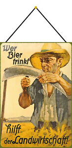 Beer-Drink-Helps-Agriculture-Sign-with-Cord-Tin-Sign-7-8x11-13-16in-FA0542-K