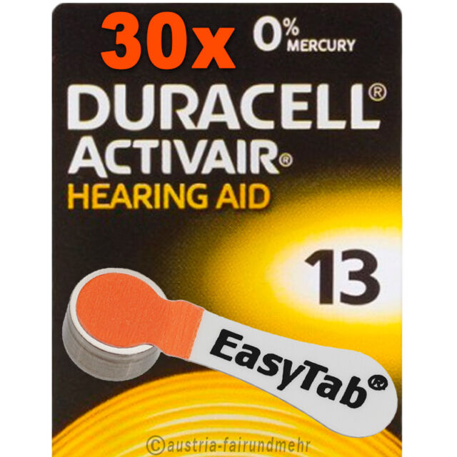 """30x DURACELL EasyTab 13 ACTIVAIR Hörgeräte-Batterie PR48 orange"