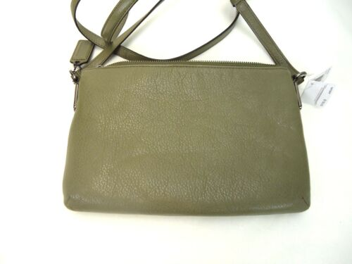 NWT COACH MADISON LEATHER EAST WEST SWINGPACK OLIVE GREY ANTIQUE NICKEL F49992