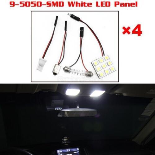 4PCS 5050 Car Cool WHITE LED DOME MAP INTERIOR LIGHT BULB 9SMD PANEL T10 Festoon