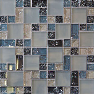 Dark Grey Subway Tile Backsplash Sample- Blue Crackle Glass Mosaic Tile Kitchen Backsplash ...