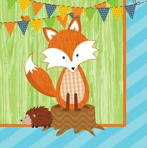 Forest Fox Birthday Party Supplies Large Lunch Napkins