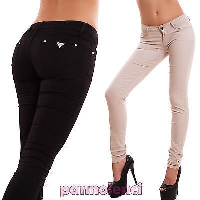 ecef0f37406a Pantaloni donna skinny sigaretta colorati elastici strass slim sexy nuovi  A1086   eBay