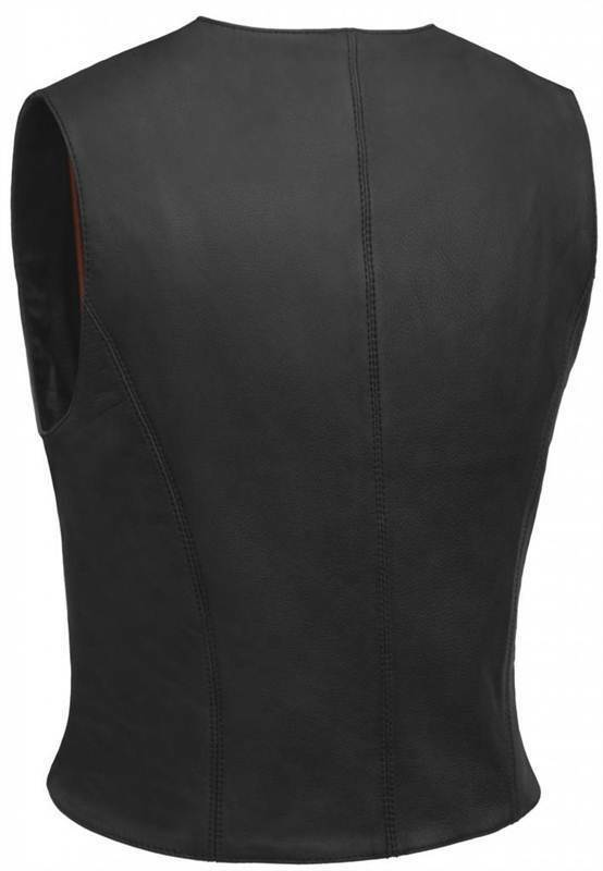True Element Womens Premium Snap Front Fitted Fitted Fitted Motorcycle Leather Vest (XS-3XL) b05332