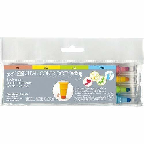 Kuretake TC-6100//4V Zig Clean Dot Pens Water Based Marker 4 Colors Set