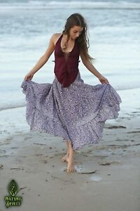 Cotton-Maxi-Skirt-Floral-Long-Summer-Hippie-Smocked-Maternity-Dancing-Ruched