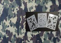 Camo Flecktarn Small 3pc Kit (3) 12x9stencils. Camouflage, Camo, Duckboat