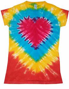 Ladies Tie Dye T Shirt  Rasta Spiral Hand dyed in the UK by Sunshine Clothing