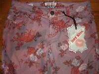 Hot Kiss Shimmery Roses Skinny Lily Jeans Womens Juniors Size 1 X 30 1/4 In