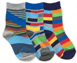 Jefferies Cotton Crew Socks 3-Pack Primary Multi-Colored Ages 2-10 Years