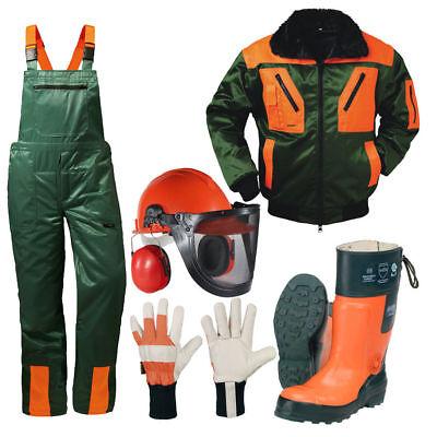 Forstschutz Set 5 tlg Schnittschutzhose +Stiefel +Jacke +Forsthelm +Handschuhe