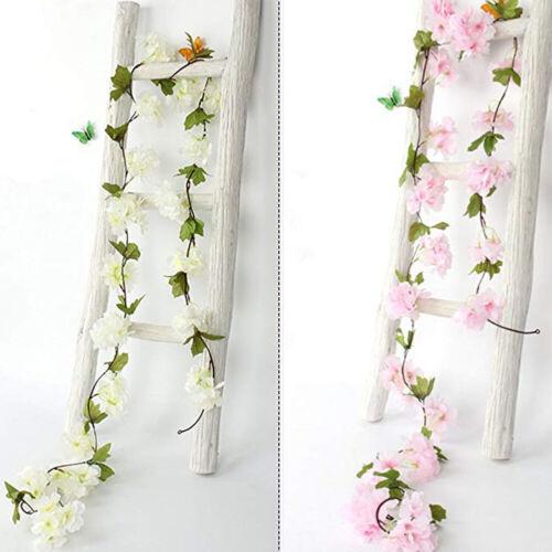 Artificial Flower Cherry Blossom Wedding Garland Vine Leaf Hanging Home Decor US