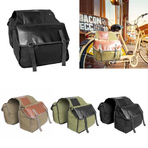 EY/_ LARGE CANVAS DOUBLE SIDE SADDLE BAG PANNIERS SADDLEBAG MOTORCYCLE LUGGAGE ST