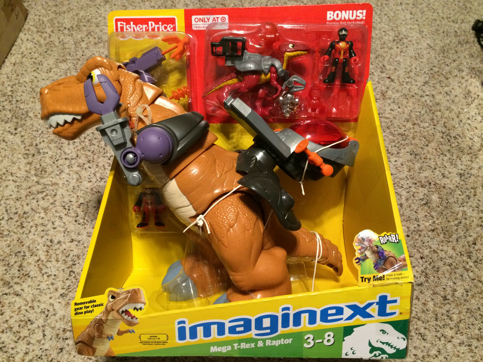 Jag föreställer mig Mega T -Rex och Raptor Dinosaur Fisher Price NY EXKLUSIVE SEALD RARE Herregud