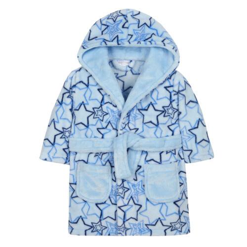 Baby Boys Blue Stars Dressing Gown Newborn Cute Novelty Bath Robe Shower Size