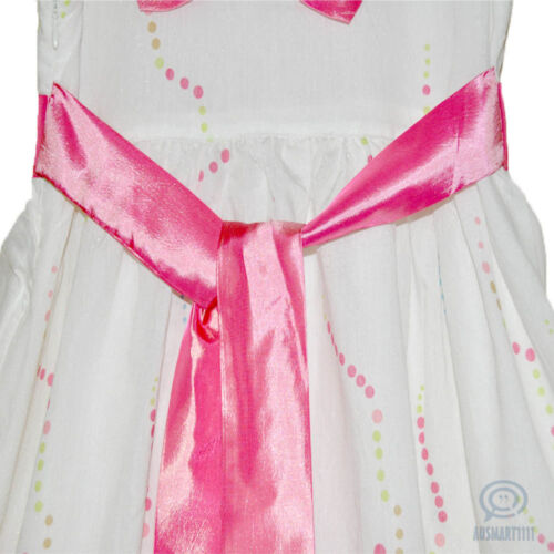Flower Girls Dress Formal Birthday Party Gown Pink Ribbon Bow Tie Size 5 to 13