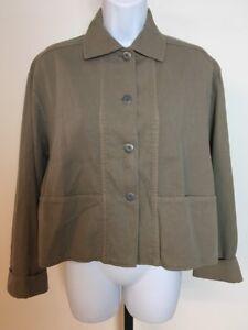 Vtg-Eileen-Fisher-Unstructured-Brown-Jacket-S-Button-Front-Tencel