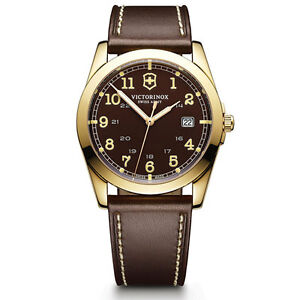 Victorinox-Swiss-Army-Infantry-Men-039-s-Brown-Dial-Leather-Strap-Watch-241645