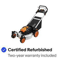 "WORX WG771 56V 19"" Lithium-Ion 3-in-1 Cordless Mower with Locking Caster Wheels"