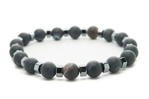 Black-Agate-Natural-Beaded-Bracelet-Chakra-Healing-Men-Women-DT437