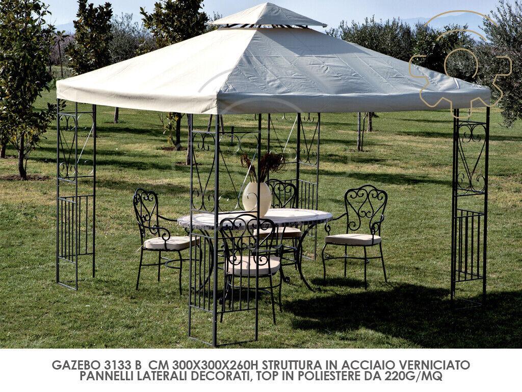 Gazebo in metallo decorato 3x3 mt cm 300x300x260h giardino esterno piscina terra
