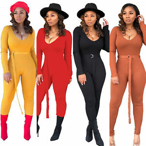 e5ba25f8eae Women Sexy V Neck Long Sleeve Solid Rib Bodycon Jumpsuit Romper ...
