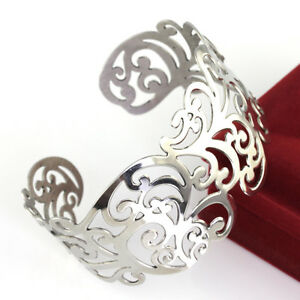4d20a999a63 Details about 1.45'' wide silver tone Lace cuff bracelet stainless steel  Women Fashion Bangle