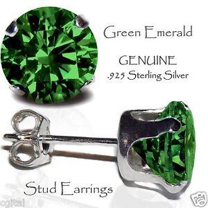 9755aaf12 Men's or Lady's Emerald Green Stud Earrings, Sterling Silver - MAY ...