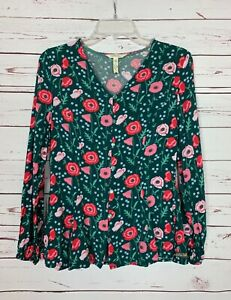 Matilda-Jane-MJ-Women-039-s-XS-Extra-Small-Green-Pink-Floral-Long-Sleeve-Top-Blouse