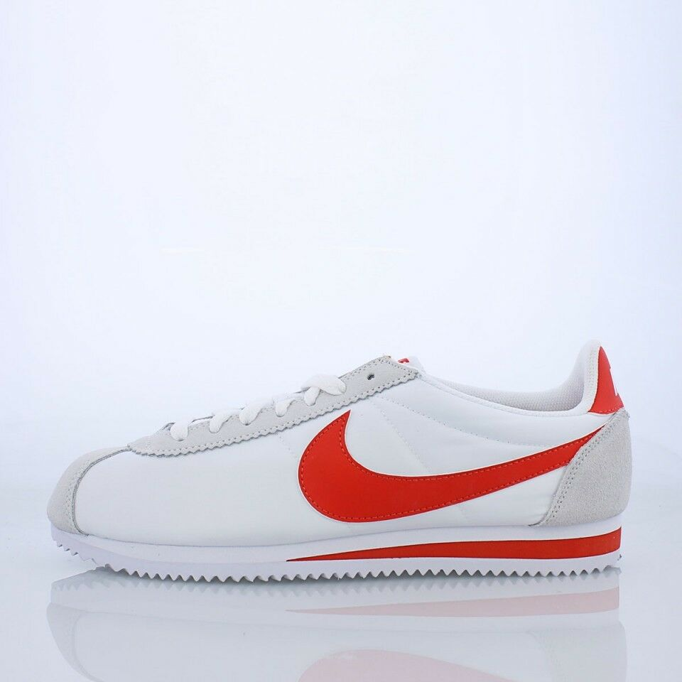 Nike Classic Cortez Basic Nylon MEN'S SHOES White Habablack Red 807472 101