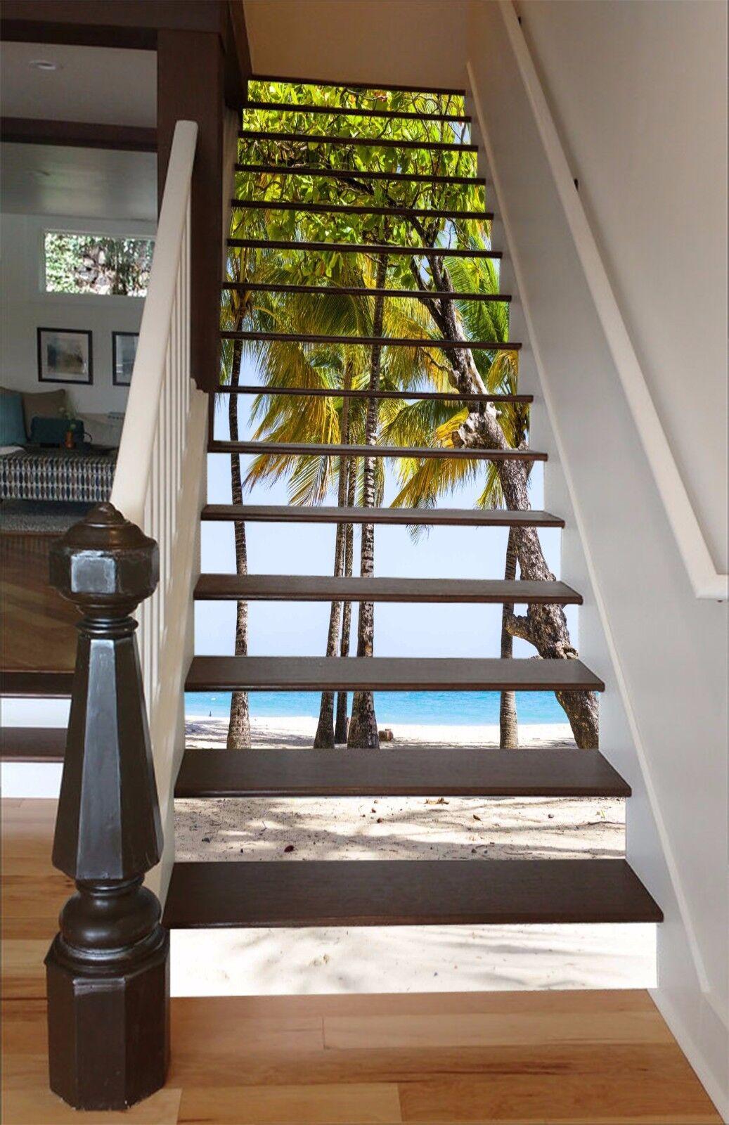 3D Tree Beach 5 Stair Risers Decoration Photo Mural Vinyl Decal Wallpaper UK