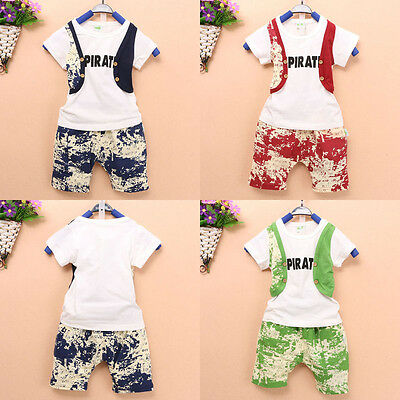 Summer Baby Toddler Kids Boys Casual Gentleman Suit Tops T-shirt Pants 2PCS Set