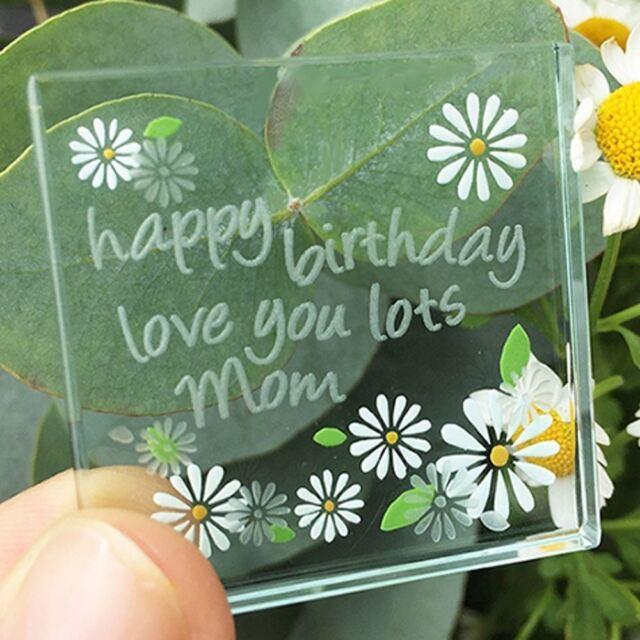 Spaceform Miniature Glass Token Daisies Happy Birthday Mom Keepsake Love Gift