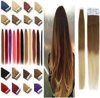 Seamless Tape-In Skin Weft 100% German Remy Human Hair Extensions16-24''20/40pcs