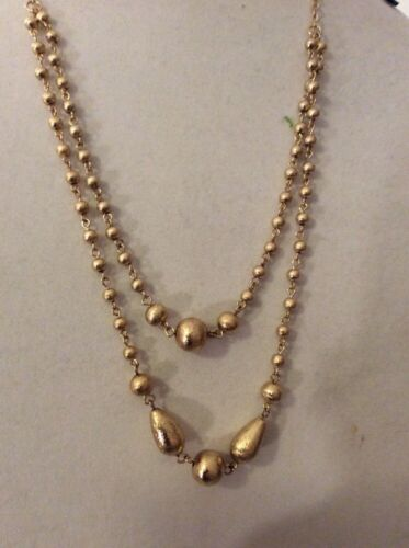 Ann Taylor Double Strand Beaded   Gold Tone And Necklace $39.99  #116
