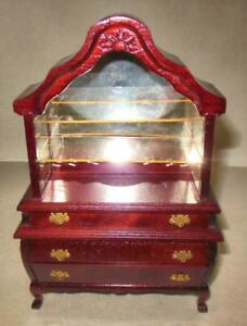 Dollhouse Miniature Corner Shop Case in Mahogany