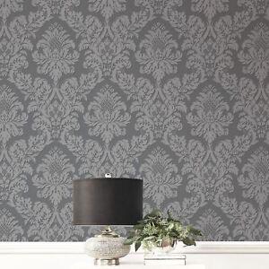 Glitzer Damast Tapete Grau/Silber - Brine Baum UK10435 Neu | eBay