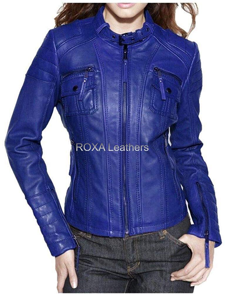ROXA NEW Stylish Women Blue Genuine NAPA Natural Leather Jacket Belt Collar Coat