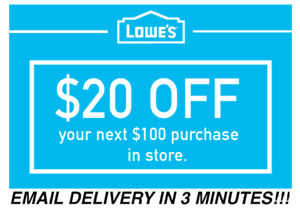 THREE 3x Lowes $20 OFF $100 Coupons Discount - IN STORE ONLY - Fast Shipment