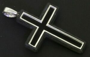 David-Yurman-New-Sterling-silver-Forged-carbon-cross-crucifix-pendant-NEW