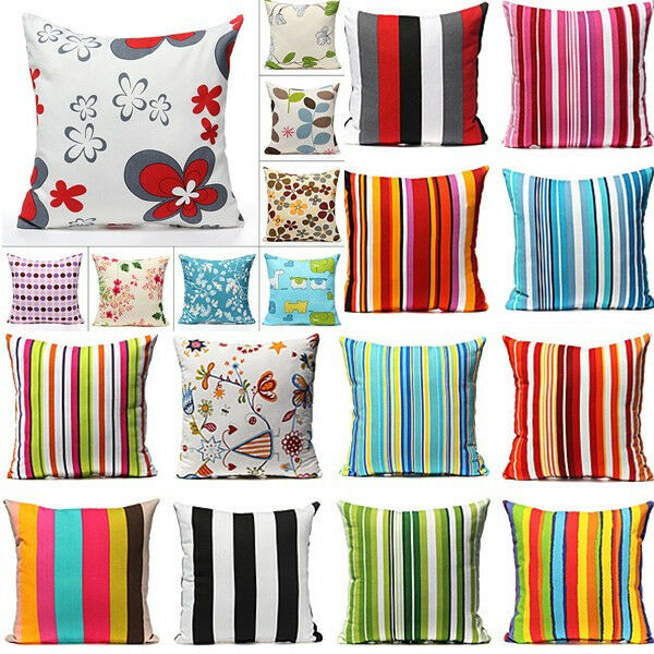 Luxury Rural Flower Stripe Home Decor Square Throw Pillow Case Cushion Cover 17""