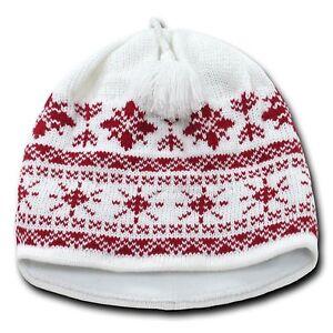 04e162c9779 White   Red Snowflake Nordic Beanie Hat Pom Ski Snowboard Winter ...