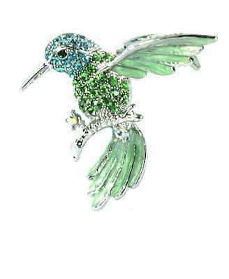 Jewelry & Watches Fashion Jewelry Enthusiastic Verde Luccicante Cristalli Colibrì Spilla High Standard In Quality And Hygiene