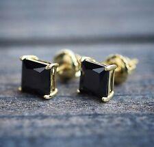 Princess Cut Black Onyx 14k Yellow Gold 6mm Stud Earrings for sale ... 2ad58bfc6784