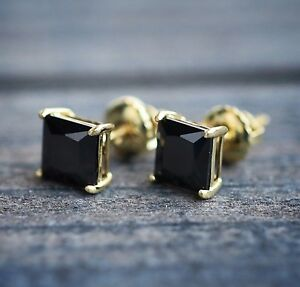 Image Is Loading Mens Hip Hop Black Onyx Gold Stud Earrings