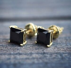 Details About Mens Princess Cut Black Onyx 14k Yellow Gold 925 Sterling Silver Stud Earrings