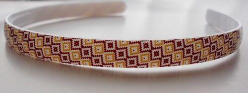 NUOVO 12mm in plastica sottile Hairband a Fascia Alice Banda Testa Denti Quadrato Giallo /& Brown
